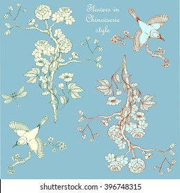Set in the chinoiserie style with peonies, dragonfly and bird on   blue background for wedding, scrapbooking, wallpaper and other design.