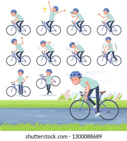 A set of chiropractor man on a road bike.There is an action that is enjoying.It's vector art so it's easy to edit.
