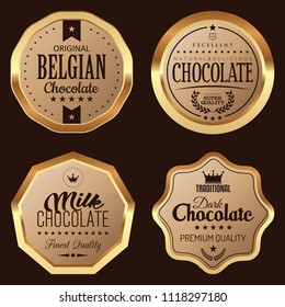 Set of Chocolate Badges. Vector Golden Icons.
