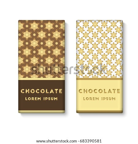 Set Of Chocolate Bar Package Designs Decorate Gold Muslim Pattern Editable Packaging Template Collection