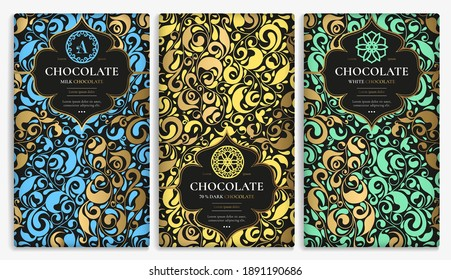 Set of chocolate bar packaging design in abstract style. Vector luxury template with ornament elements. Can be used for background and wallpaper. Great for food and drink package types.