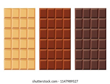 Set of chocolate bars. Bitter, milky and white chocolate. Without packaging. Vector illustration on white background. Sweet dessert.