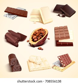 Set of chocolate bars of white black and brown colors around cacao beans full of seeds vector realistic illustration. Milk and coffee choco with nuts.