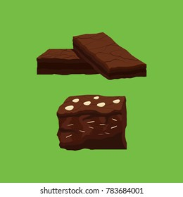 Set of Chocolate Brownies Vector and Icon