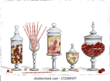 Set of chocolate candies in glass candy jars over white background