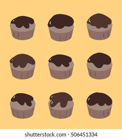 Set of chocolate cupcakes on the yellow background. Design elements neatly arranged together in pattern. Dark brown chocolate topping on sweet muffins.