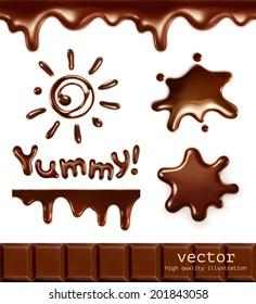 Set of chocolate drops, vector illustration