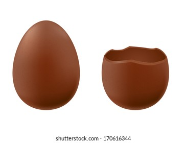 Set of chocolate eggs - whole and broken one. Good for Easter design.