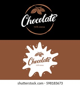 Set of chocolate hand written lettering logo, label, badge or emblem with cocoa bean. Vintage retro style. Isolated on black background. Vector illustration.