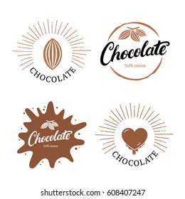 Set of chocolate hand written lettering logo, label, badge or emblem with cocoa bean. Vintage retro style. Isolated on white background. Vector illustration.