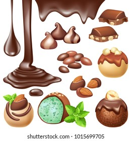 Set of chocolate with nuts. Melted dark chocolate. Isolated 3d vector illustration.