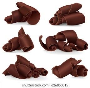 Set of chocolate shavings on white background. Realistic style vector illustration.