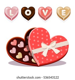 Set chocolates sweets for Valentine's Day