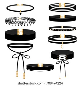 Set of choker jewelry on the neck, rubber pendants. A popular trend in fashion jewelry for girls. Vector illustration.