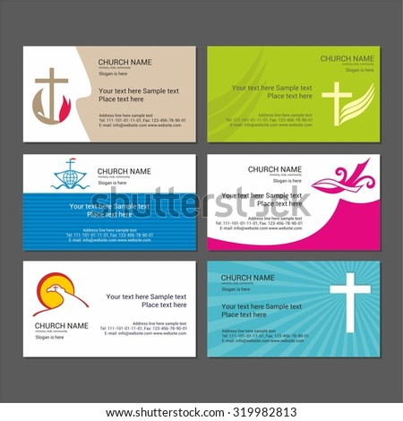 Set christian business cards church ministry stock vector royalty set christian business cards for the church the ministry the club and the friedricerecipe Gallery