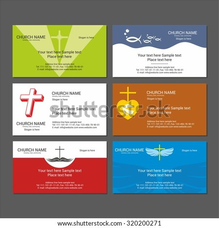 Set christian business cards church ministry stock vector royalty set christian business cards for the church the ministry the club and the cheaphphosting Images