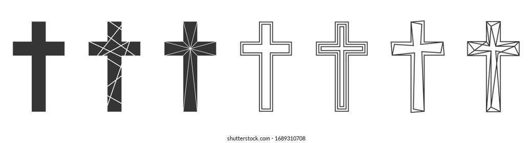 Set of Christian Cross. Abstract vector icons isolated. Vector illustration. Various black Christian Crosses.