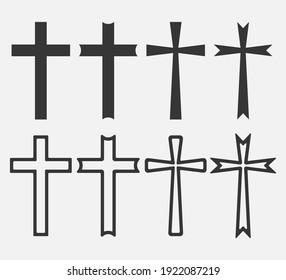Set of Christian Cross icon logo app, UI. Vector illustration. Eps 10.