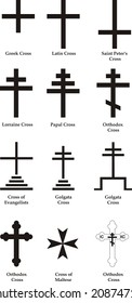 Set of christian crosses