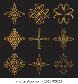 Set of christian crosses. Catholic, Orthodox, Baptist. Vector