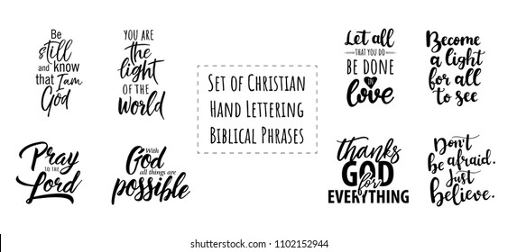 Set of Christian Hand Lettering Biblical phrases. Vector Biblical Calligraphy quotes