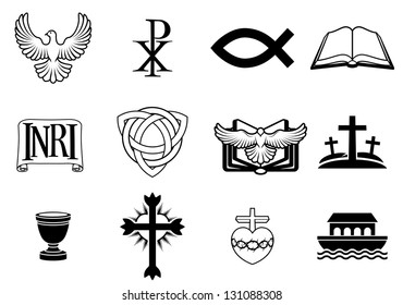 A set of Christian icons and symbols, including dove, Chi Ro, fish symbol, bible, INRI sign, trinity christogram, cross, communion cup, ark and more