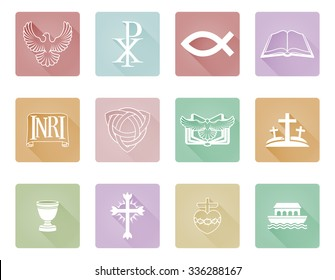 A set of Christian icons and symbols inclusing cross and Christian fish