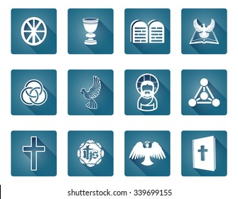 A set of Christian religious icons and symbols