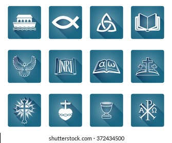 A set of Christian religious icons and symbols including fish and noah s ark