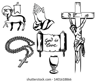 A set of Christian religious signs and symbols. Crucifixion, grail, rosary, scroll, lamb of God. Religious symbols set sketch.