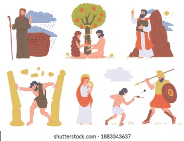 A set of christianity bible characters. Legendary historical people from biblical religious stories. Flat cartoon vector illustration isolated on a white background.