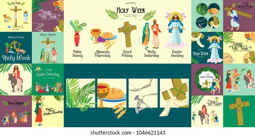 Set for Christianity holy week before easter, Lent and Palm or Passion Sunday, Good Friday crucifixion of Jesus and his death, Stations of Cross, God Last Supper Crown of thorns vector illustration