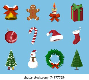 Set of  Christmas 12 label, XMas icon. Cartoon style. Vector Illustration for Christmas day.
