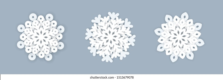 Set of christmas 3d snowflake icons. Vector illustration.