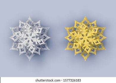 Set Christmas 3d snowflakes. Gold and silver paper cut snowflakes with shadow on grey background.