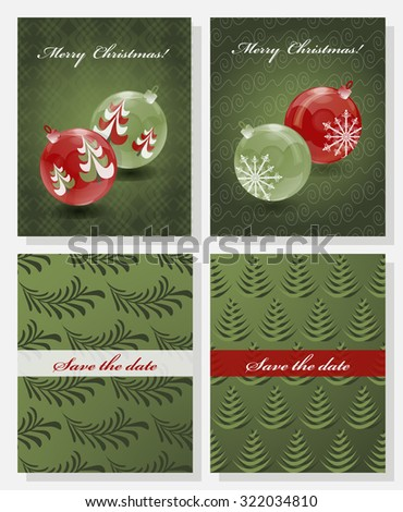 Christmas Save The Date Free Template.Set Christmas Abstract Vector Template Save Stock Vector
