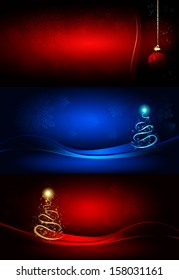 Set Christmas backgrounds with tree, ball and stars
