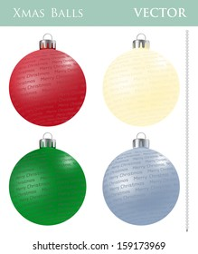 A set of Christmas balls with different ornaments and different colors