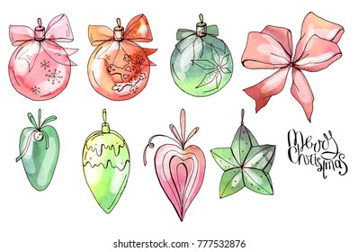 Set with christmas balls and fir tree decor. Isolated objects on white. Vector, watercolor effect