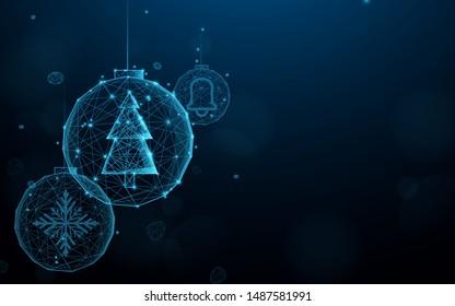Setzen Sie Weihnachtsbälle aus Linien, Dreiecken und Partikeldesign. Illustrationsvektor