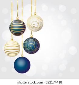 A set of Christmas balls. New Year background with Christmas balls. Vector illustration