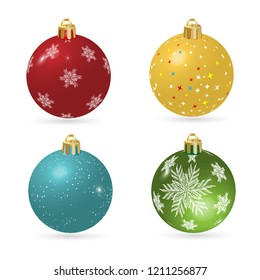 Set of Christmas balls red and blue with snowflakes. Isolated on white background. Vector illustration.