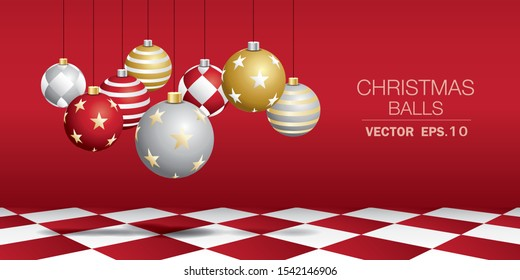Set of Christmas balls with red wall and red chess floor. Christmas scene vector.