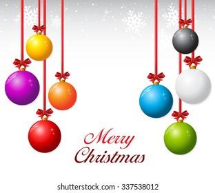 Set of Christmas balls with ribbon and bows