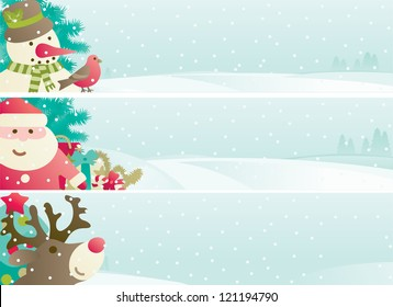 Set of christmas banner. Vector banners with Santa Claus, snowman, Red Nosed  Reindee, branches of fir tree and christmas decoration  on winter snow landscape