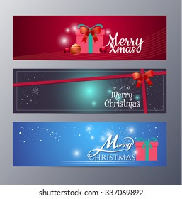 set of christmas banner vector illustration ,standard web design size