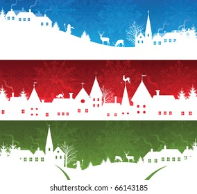 Set of a christmas banners