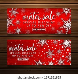 Set of christmas banners sale with fir branches and red christmas balls