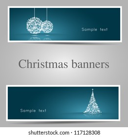 Set of christmas banners/ tree and bauble version-vector