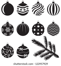 A set of Christmas baubles decorated with various patterns and branch for decoration